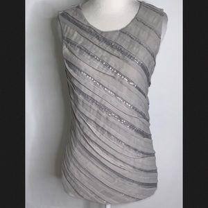 Ann Taylor Gray & Silver Seqins Dressy Tank Top S